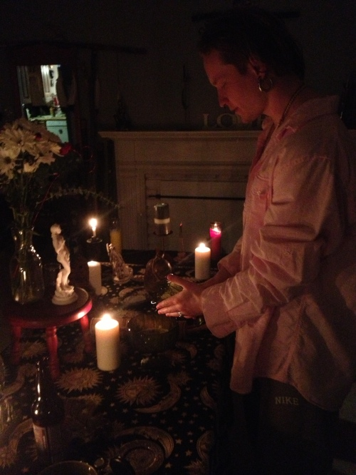 Full Moon February 23, 2013 Altar to Aphrodite with Sergey Khrushchev pouring personal libation Salt Lake City, UT
