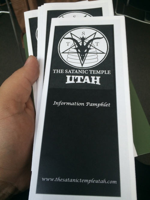 Satanic Temple-Utah open meeting, brochure, Salt Lake City Public Library, Saturday, May 21, 2016, Salt Lake City, UT