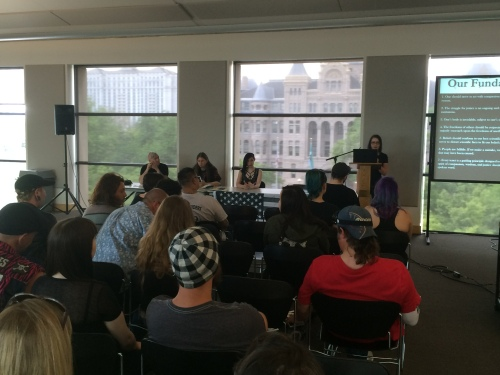 Satanic Temple-Utah open meeting, L to r (table): Aaron Shea, Paul Black, Autumn Rogers, Chalice Blyth, Salt Lake City Public Library, Saturday, May 21, 2016, Salt Lake City, UT