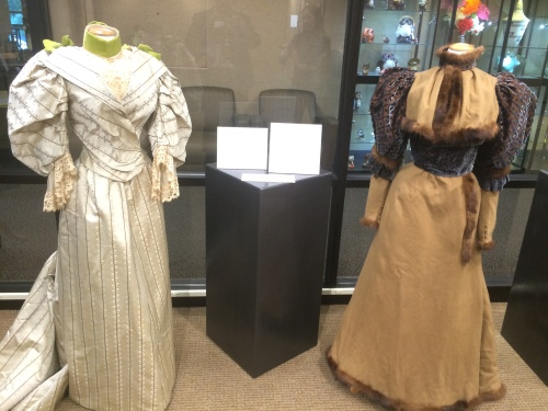 5th Annual Salt City Steamfest, fashion collection two piece day dress circa 1890 (left) and walking dress Mme. C. Drevet circa 1890, Friday, August 12, 2016, Utah Cultural Center, West Valley City, UT