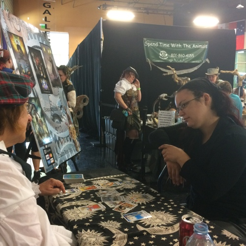 5th Annual Salt City Steamfest, April Love (l) with client, Saturday, August 13, 2016, Utah Cultural Center, West Valley City, UT