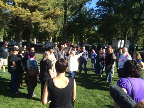 Salt Lake City 15th Annual Pagan Pride Day, Rita Morgan (white center), Opening ritual, Saturday, September 17, 2016, Liberty Park, Salt Lake City, UT