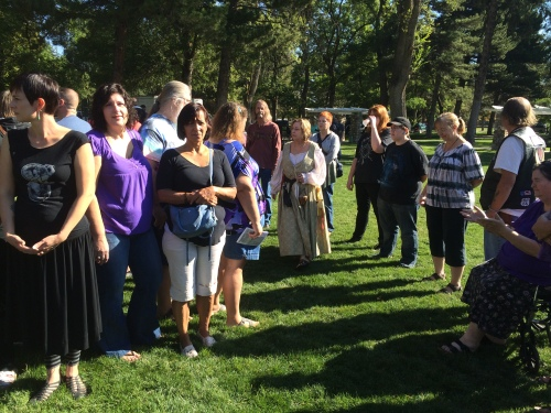 Salt Lake City 15th Annual Pagan Pride Day, opening ritual, Tamara Gold (center brown), Saturday, September 17, 2016, Liberty Park, Salt Lake City, UT