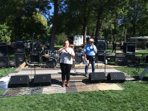 Salt Lake City 15th Annual Pagan Pride Day, announcements, ASL translator, Debra Hurst (right), Saturday, September 17, 2016, Liberty Park, Salt Lake City, UT
