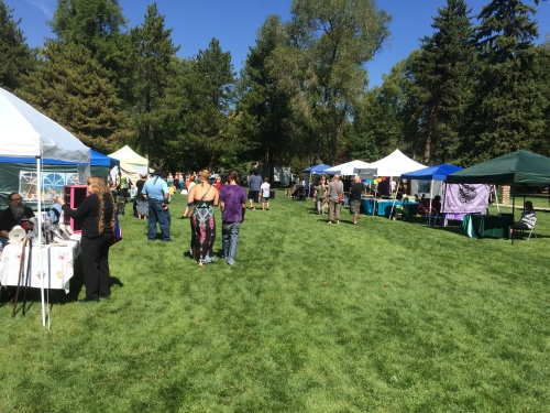 Salt Lake City 15th Annual Pagan Pride Day, vendor booths (looking N), Saturday, September 17, 2016, Liberty Park, Salt Lake City, UT