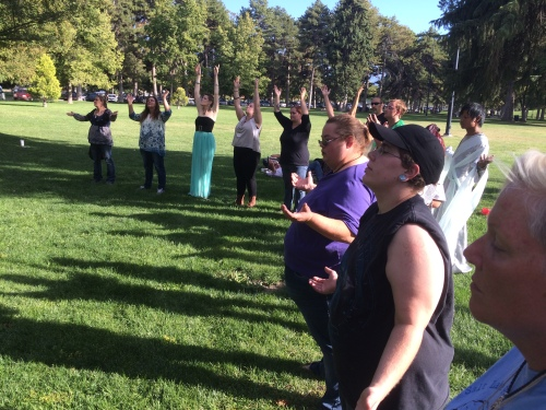 Salt Lake City 15th Annual Pagan Pride Day, closing ritual with Hart's Hearth Clan, cirlce, Saturday, September 17, 2016, Liberty Park, Salt Lake City, UT —